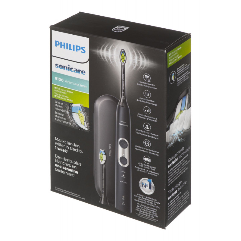 Brush for teeth Philips ProtectiveClean 6100 HX6870/47 (sonic; black color)