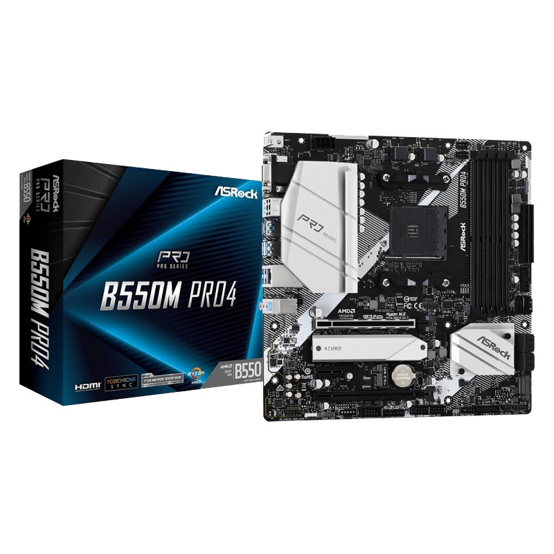 ASRock emaplaat B550M Pro4 AM4 4DDR4