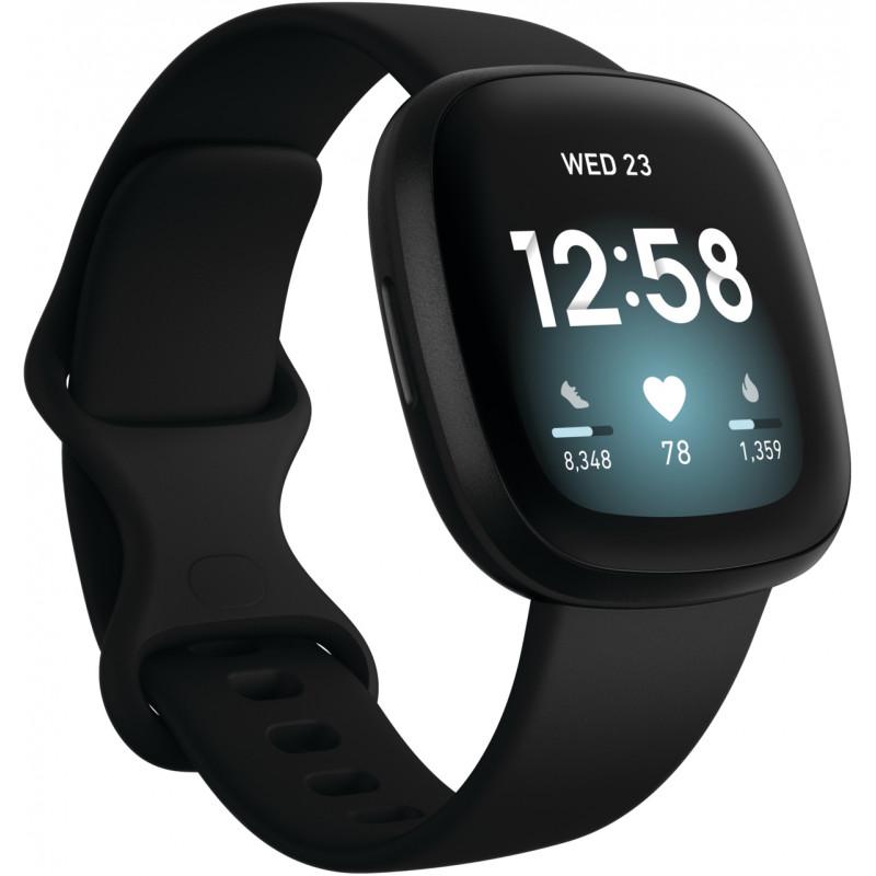 Fitbit Versa 3, must/must aluminium