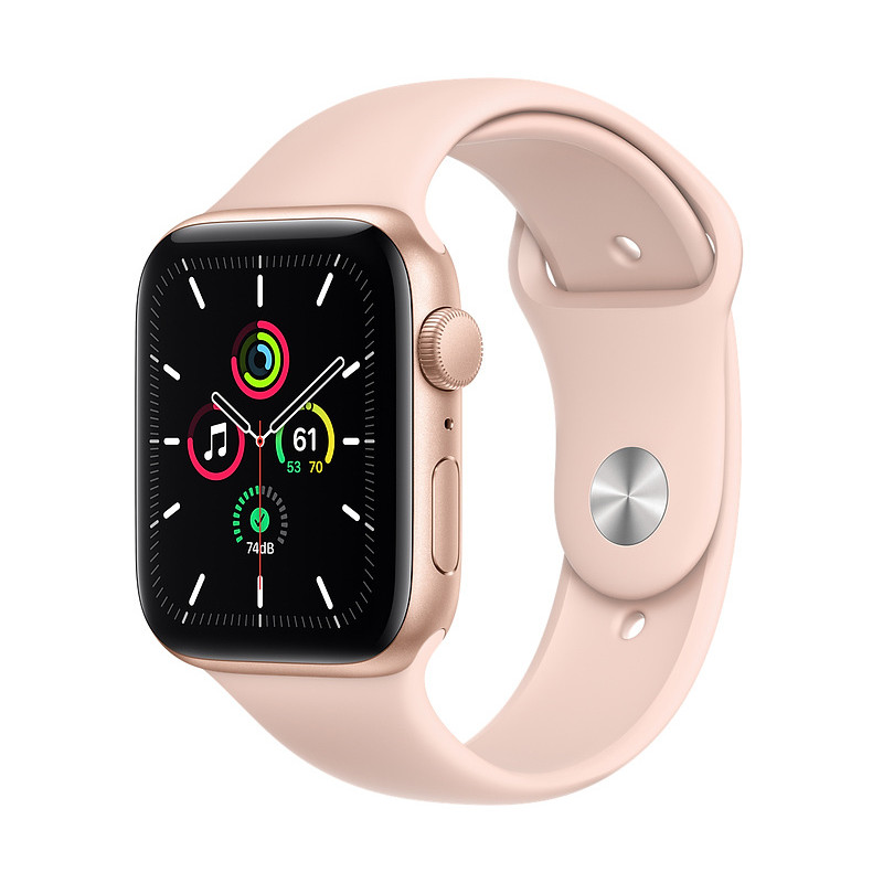 Apple Watch SE GPS 44mm Sport Band, gold/pink sand