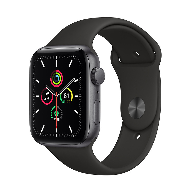 Apple Watch SE GPS 44mm Sport Band, space gray/black