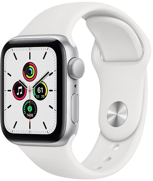 Apple Watch SE GPS 40mm Sport Band, silver/white