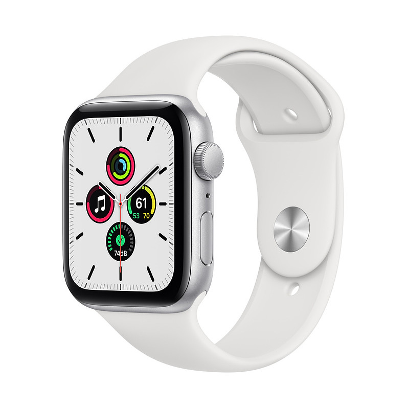 Apple Watch SE GPS 44mm Sport Band, silver/white