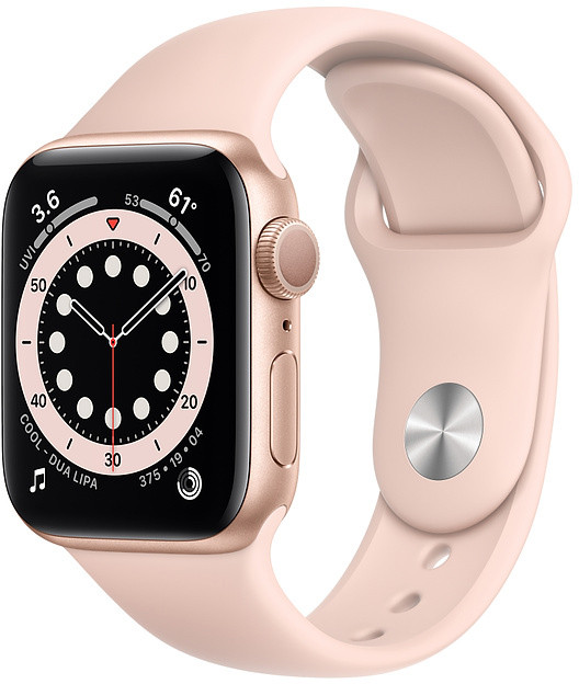 Apple Watch 6 GPS 40mm Sport Band, gold/pink sand