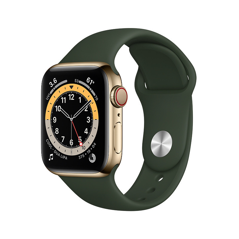 Apple Watch 6 GPS + Cellular 40mm Stainless Steel Sport Band, gold/cyprus green (M06V3EL/A)