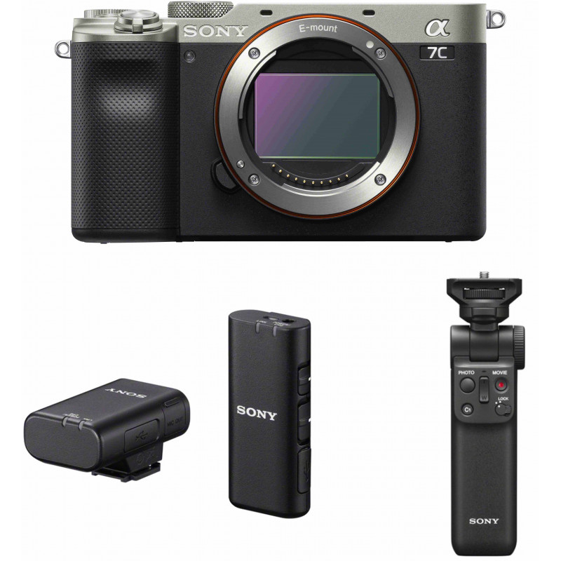 Sony a7C + Sony käepide-ministatiiv + Sony mikrofon, hõbedane