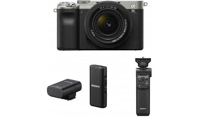 Sony a7C + 28-60mm Kit + Sony juhtmevaba mikrofon + käepide-ministatiiv, hõbedane