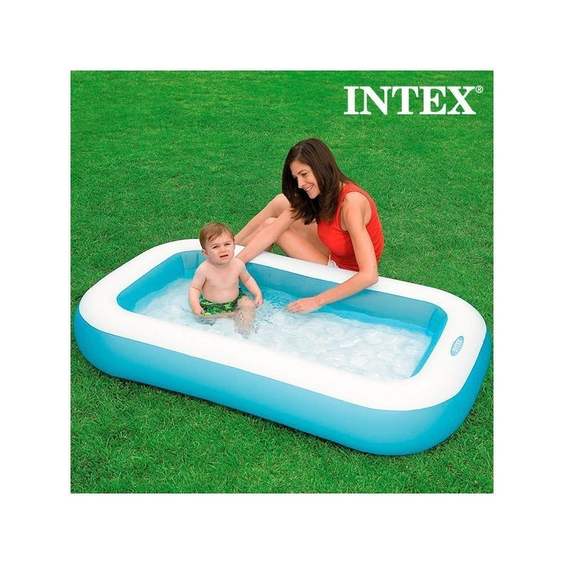 Children 39 s rectangular inflatable paddling pool intex beach toys photopoint for Intex inflatable rectangular swimming pool