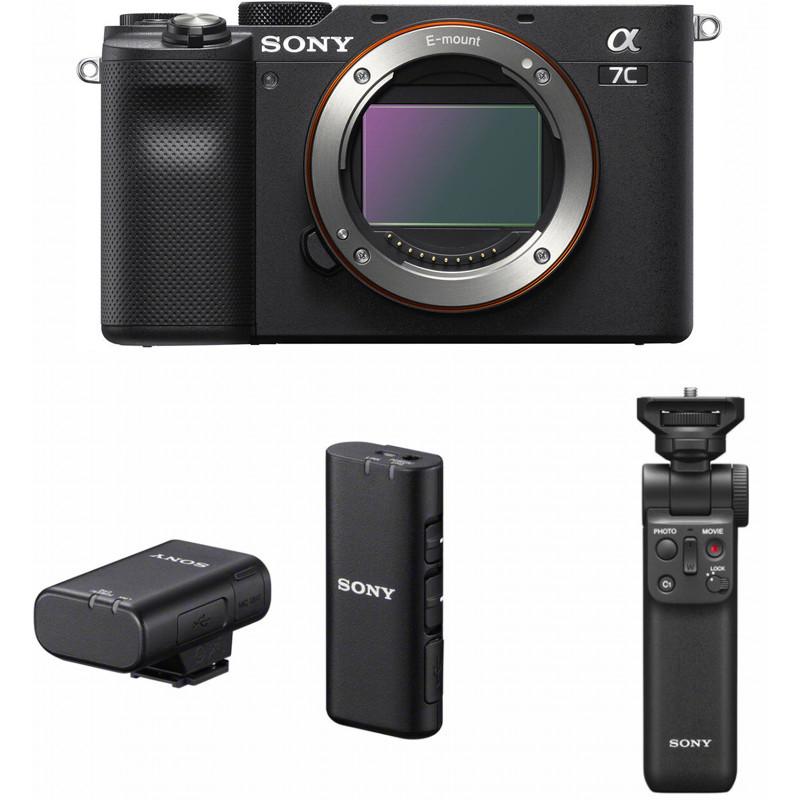 Sony a7C + Sony käepide-ministatiiv + Sony juhtmevaba mikrofon, must