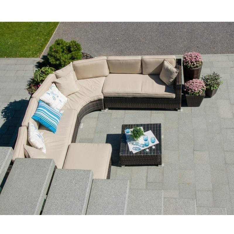 garden furniture set dawson with cushions table corner sofa and ottoman color - Garden Furniture Corner Sofa