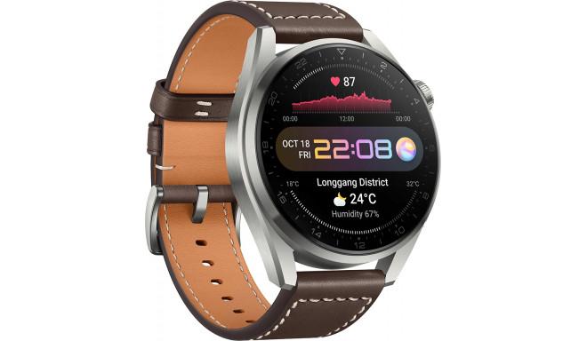 Huawei Watch 3 Pro Classic, hõbedane/pruun nahk