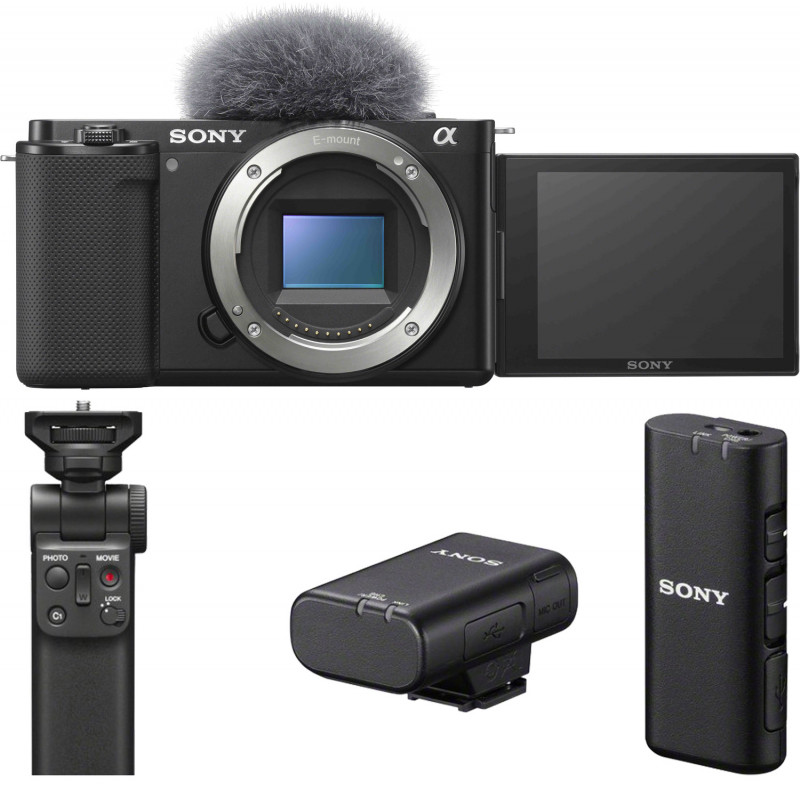 Sony ZV-E10 + käepide + juhtmevaba mikrofon