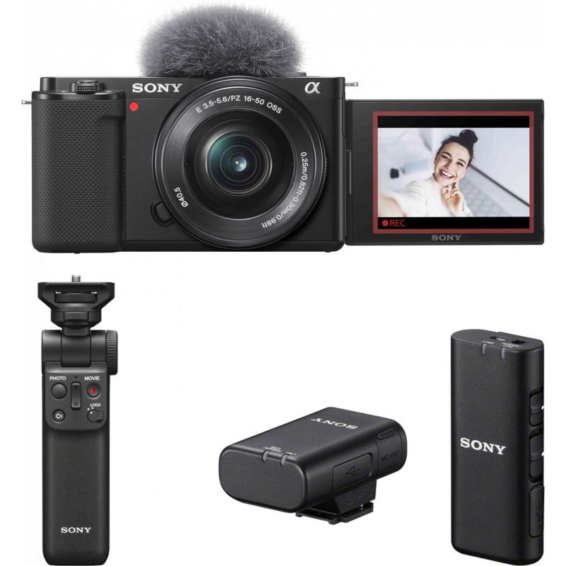 Sony ZV-E10 + 16-50mm + käepide + juhtmevaba mikrofon