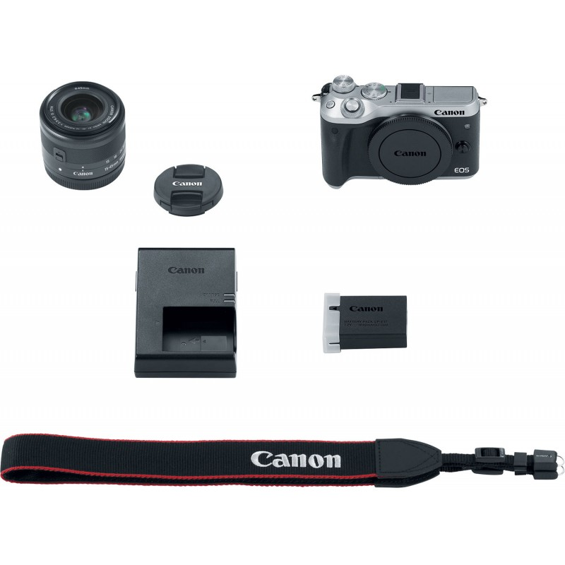 Canon EOS M6 + EF-M 15-45mm + 55-200mm IS STM, silver