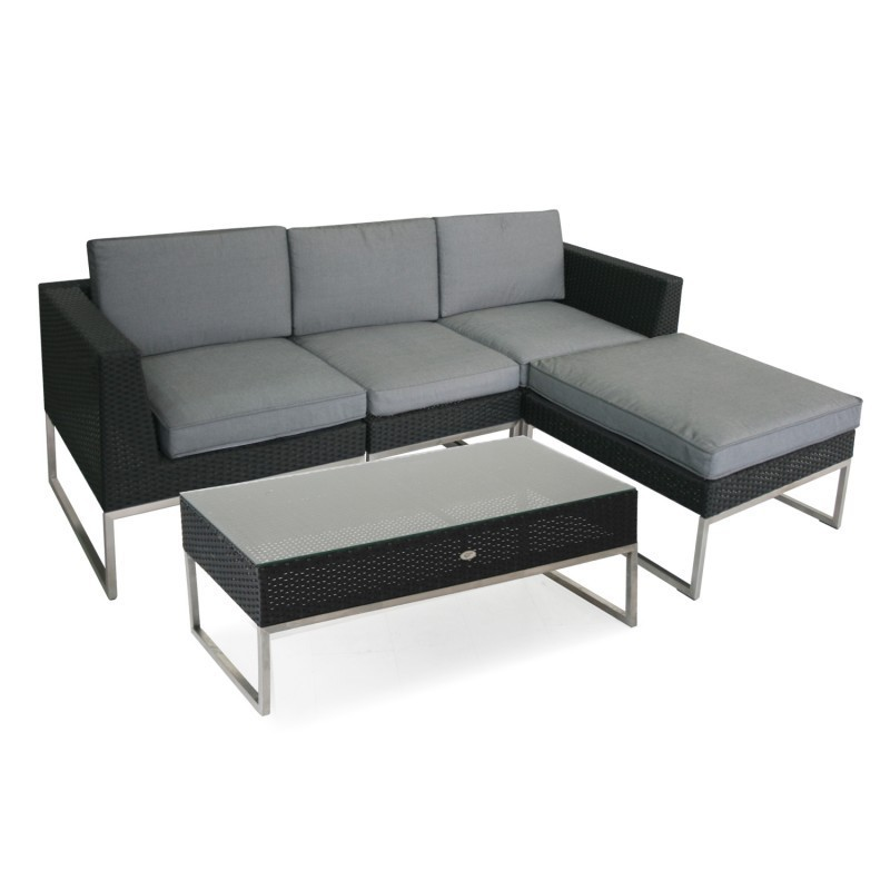 Module Sofa STEEL With Cushions, Left Corner, 74x74xH65,5cm, Stainless Steel  Frame