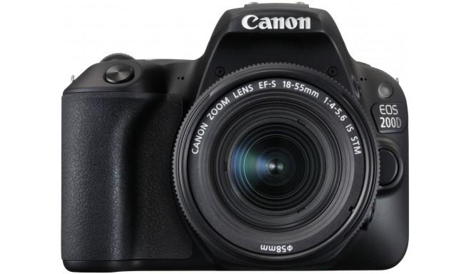 Canon EOS 200D + 18-55mm IS STM Kit, melns