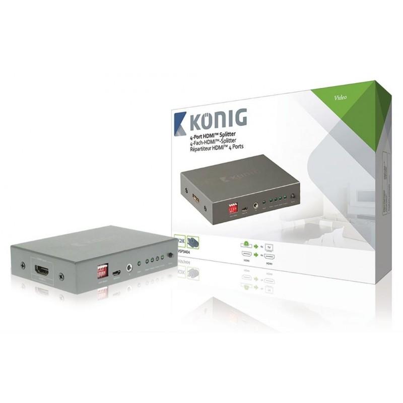 4-Port HDMI Splitter Dark Grey