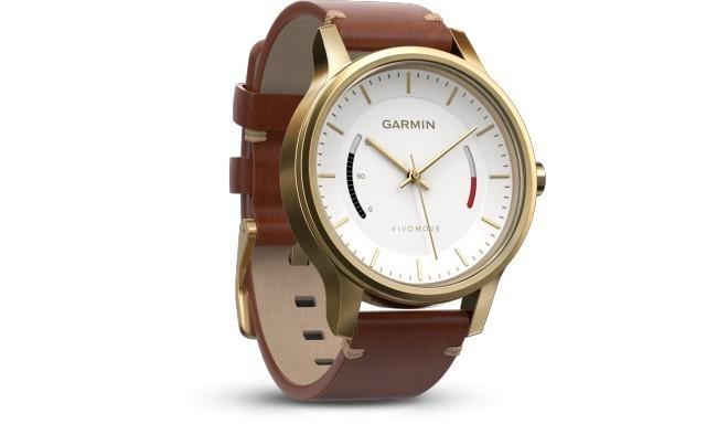 Garmin трекер активности Vivomove Premium, золотистый/кожаный