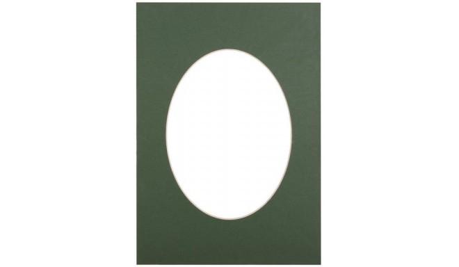 Паспарту 30x40, зеленый овал