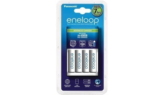 Panasonic eneloop battery charger BQ-CC17 + 4x1900