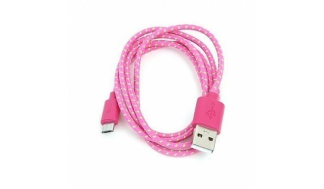 Omega kaabel microUSB 1m punutud, roosa (42319)