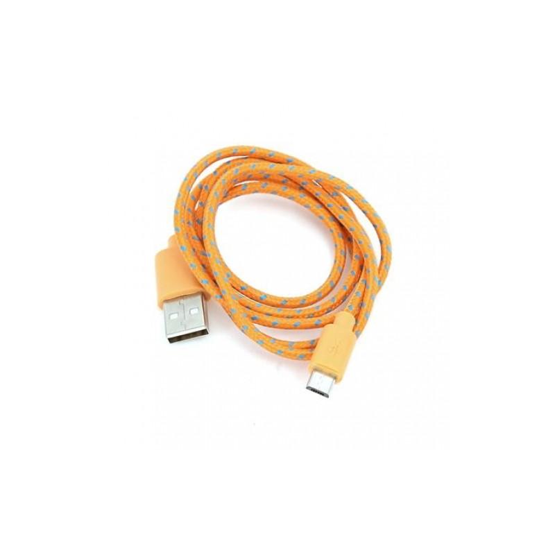 Omega kaabel microUSB 1m punutud, oranž (42318)
