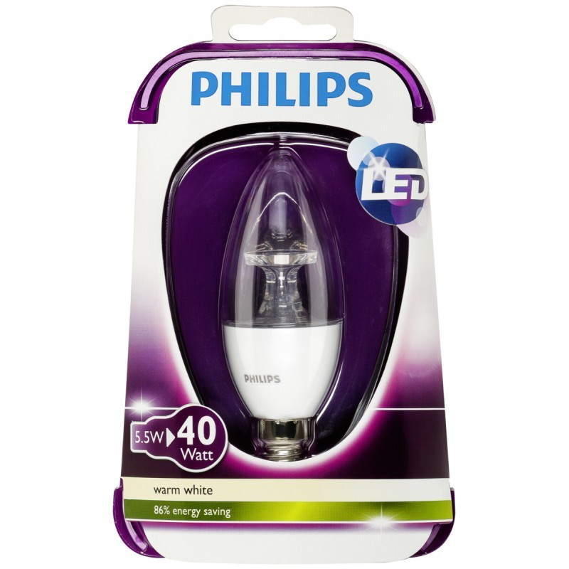 philips led candle e14 5 5w 40w warm white 470lm klar. Black Bedroom Furniture Sets. Home Design Ideas