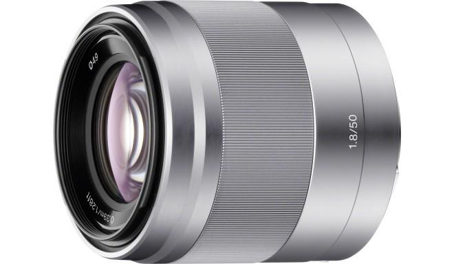 Sony E 50mm f/1.8 OSS objektiiv, hõbedane