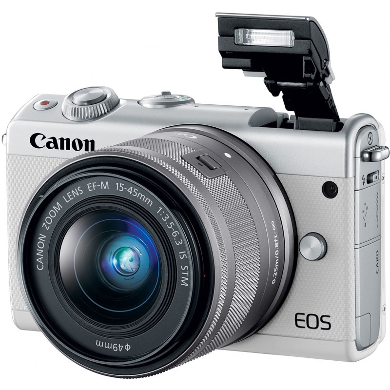 Canon EOS M100 + EF-M 15-45mm IS STM, valge