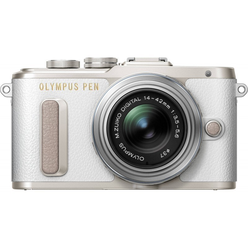 Olympus PEN Lite E-PL8 + 14-42mm II R Kit, valge/hõbedane