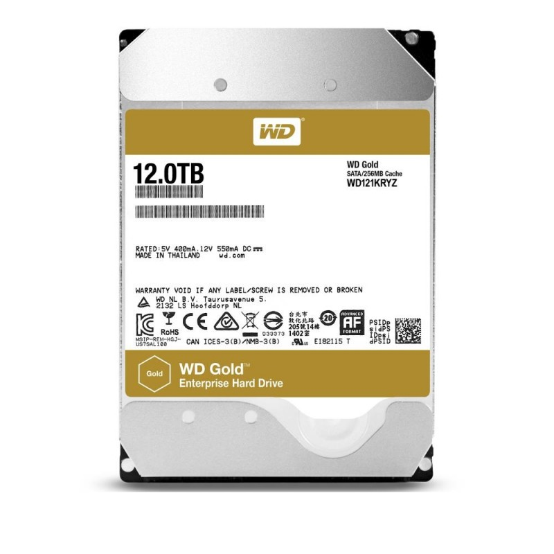 HDD | WESTERN DIGITAL | Gold | 12TB | SATA 3.0 | 256 MB | 7200 rpm | 3,5"