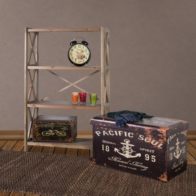 Pouf Box With Lid VENTURA 40x40xH40cm Antique Brown Pacific Impressive Anchor Pouf