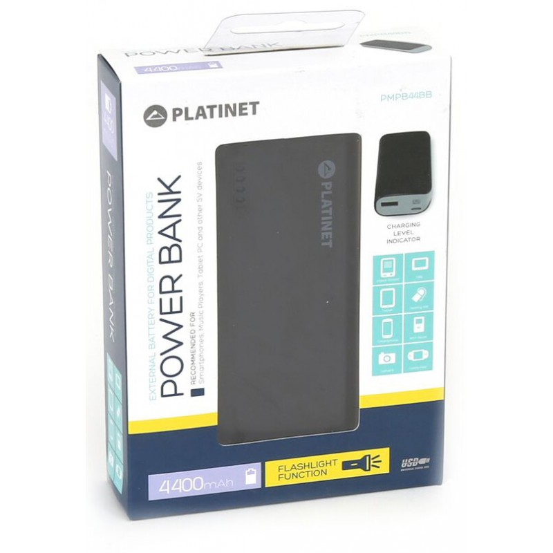 Platinet Power Bank 4400mAh + фонарик, черный/серый
