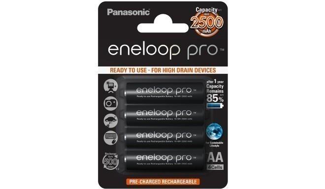 Panasonic eneloop аккумуляторные батарейки pro AA 2500 4BP